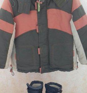 Детская куртка демисезонная, с зимними сапожками.