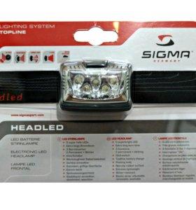 Налобный фонарь Sigma Headled 5 светодиодов, новый