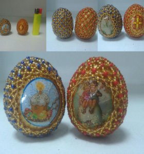 Яйца на пасху из бисера (деревянные)