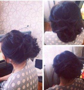 Причёска (собранные локоны) , пучок