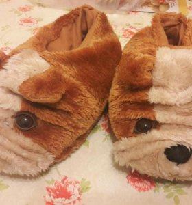 Тапочки собачки теплые 35 - 36 размер