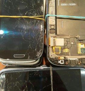 Дисплеи с битым стёклами Samsung i9300 s3