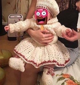 Вязанный комплект на девочку 3-6 мес с подарком