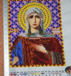 Икона вышитая бисером, св. Маргарита