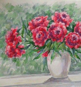 Пионы картина акварель цветы букет