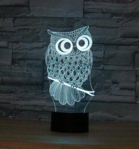 3Д светильник сова