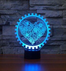 ночник 3д светильник Сердце механизм