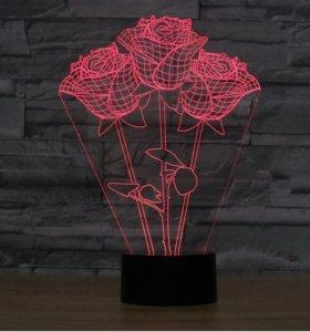 3д светильник ночник Три розы подарок сувенир
