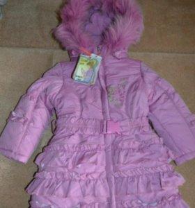 Пальто kiko зимнее новое 98-104р-р
