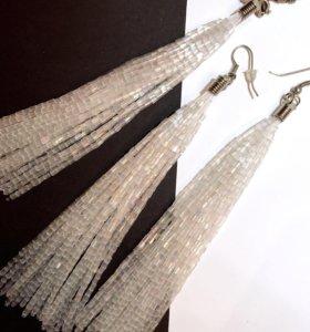 Серьги и подвеска. Мерцающие бисерные. 2 цвета