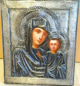 Икона 19 век Казанская Богородица 32х27 серебро.
