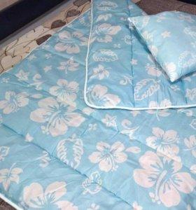 Одеяло с подушкой. Новые. Овечья шерсть