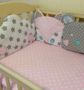 бортики зверюшки на 3 стороны кроватки
