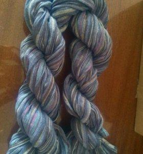Слинг шарф синий лен в полоску