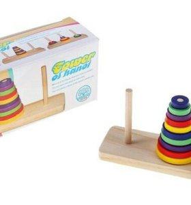 Пирамидка логическая с 3мя основаниями, 10 цветных