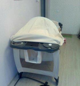Кровать-манеж с пеленальником складная
