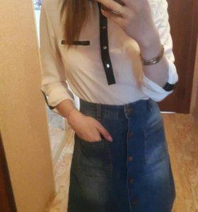Юбка джинсовая и блузка