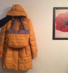 Пальто -пуховик с поясом и сумкой