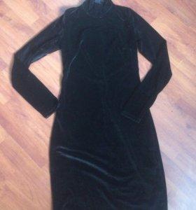 Чёрное платье,велюр