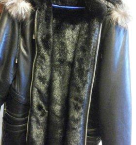 Куртка-пехора кожаная с мехом норки р-р 54-56