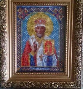 Продам икону, вышитую чешским бисером