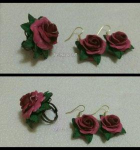 Комплект перстень и серьги
