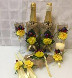 Свадебное шампанское. Украшение, декор свадеб.