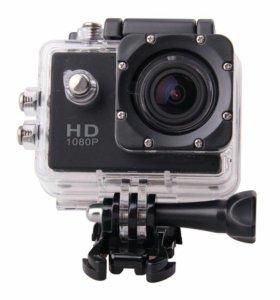 Экшн камера Full HD 1080p + Аквабокс + 23 предмета