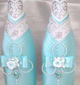 Свадебные бутылки, бокалы, свечи, аксессуары