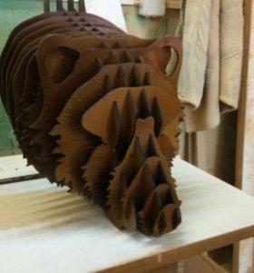 Декоративная 3D голова медведя.