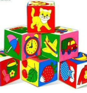Кубики Мякиши 12шт разные