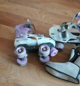 Роликовые коньки 4х колесные
