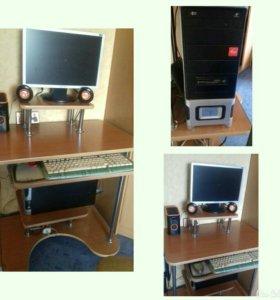 Компьютер + комплект(колонки,стол,клавиатура,монит