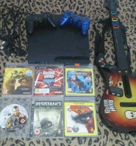 Ps3 Slim(Sony PlayStation 3) + guitar hero, 2 джоя