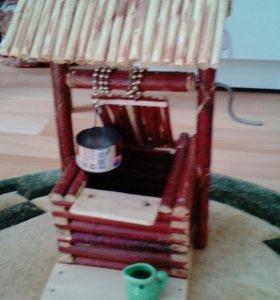 Дерево. Сувенир. Дом с колодцем и туалетиком