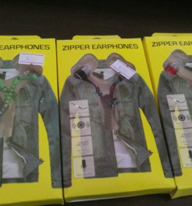 Наушники ZIPPER EARPHONES вакуумные с кнопкой