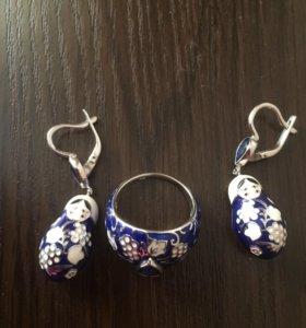 Серьги и кольцо из серебра
