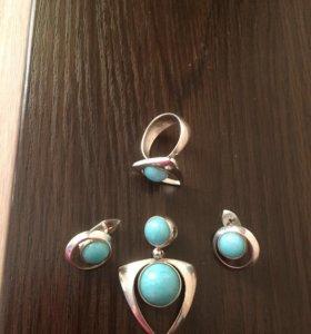 Серьги, кольцо, подвеска из серебра с бирюзой