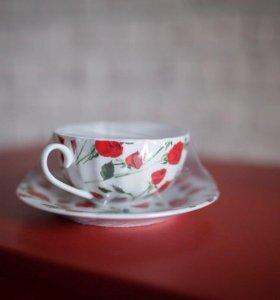 Новая Чашка Кружка Чайная и Блюдце Набор