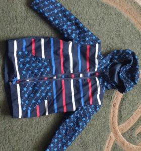 Куртка ветровка непромокайка на флисе