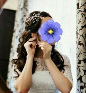 Счастливое свадебное украшение д/волос руч.работы