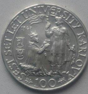 Серебряная монета Чехословакии 100 крон