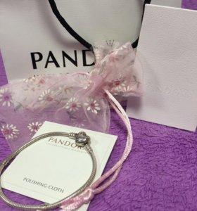 Серебряный браслет Pandora + подарок