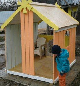 Детский игровой домик деревянный для дачи и сада