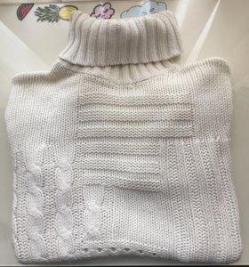 Белый хлопковый свитер 44