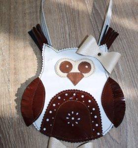 Кожаная детская сумочка Совушка