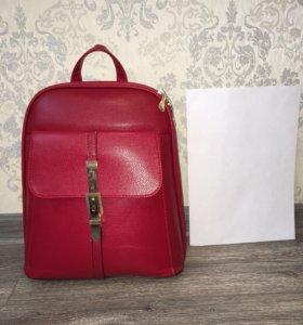 Рюкзак кожаный женский  красный бордовый