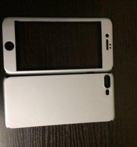 Чехол для iPhone 7 plus+ защитное стекло