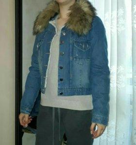 Куртка джинсовая с мехом и натуральным воротником