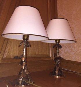 Люстра и 2 светильника. Белый абажур. Италия